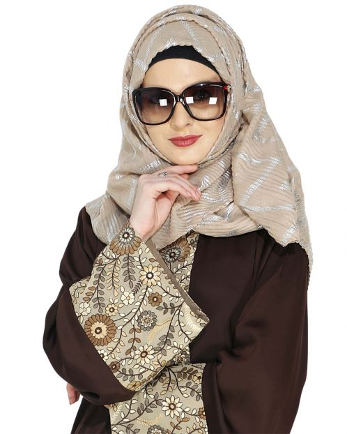 Crinkled Beige Hijab with Silver Design