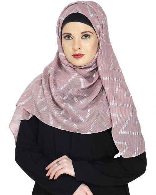 Crinkled Onion Pink Hijab with Silver Design