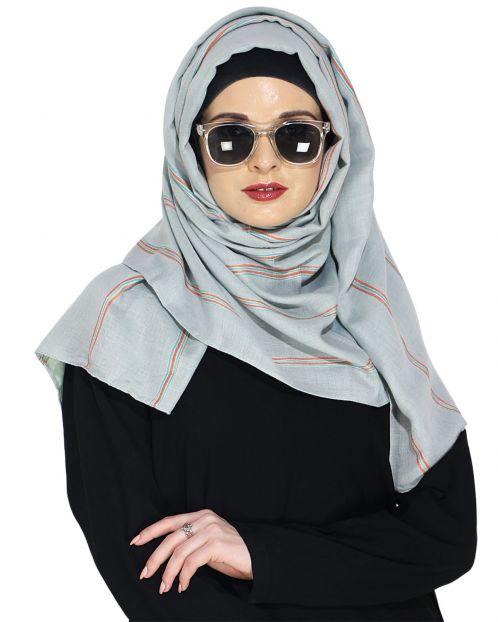 Striped Blue Casual Hijaab