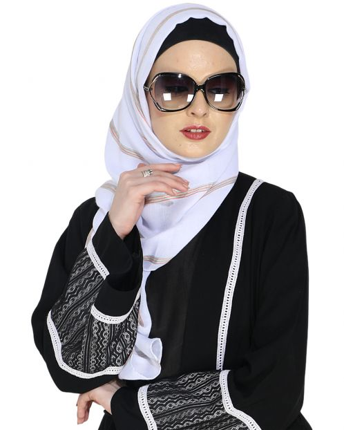 Striped White Casual Hijab