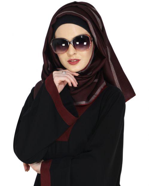 Striped Maroon Casual Hijab