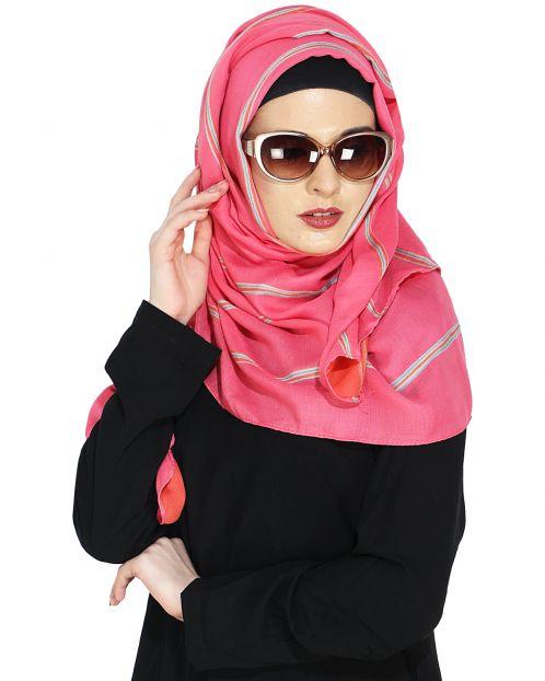 Striped Pink Casual Hijab