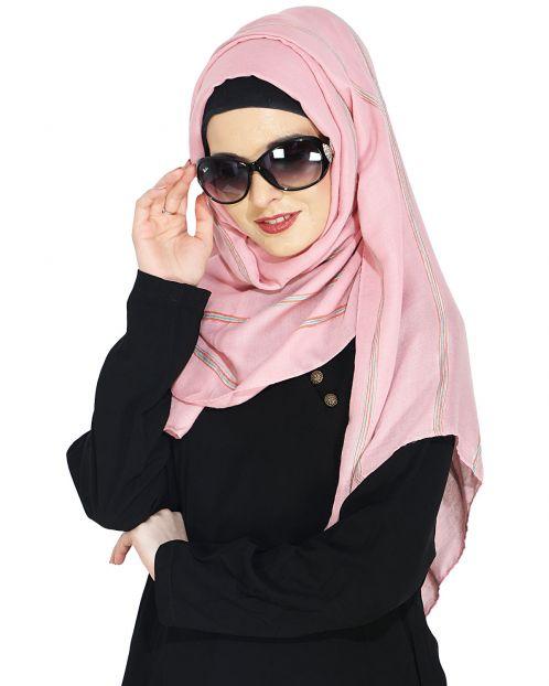 Striped Onion Pink Casual Hijab