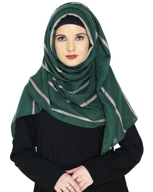 Striped Dark Green Casual Hijab