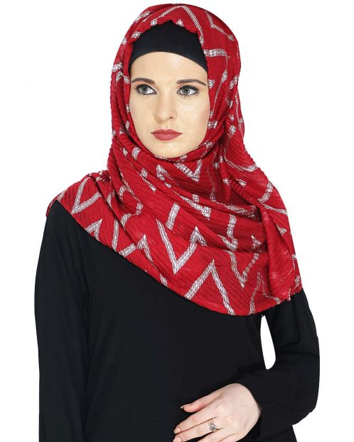 Crinkled Deep Maroon Hijab with Silver Design