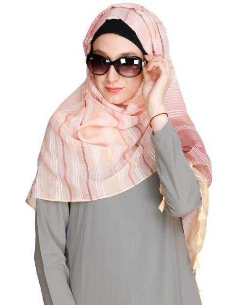 Bold Stripes Peach Hijab