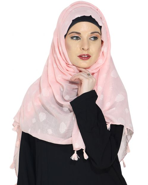 Beatific Baby Pink Casual Hijab