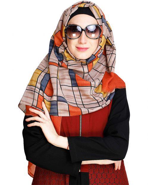 Geometric Colour Block Orange Casual Hijab