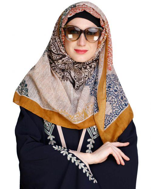 Dreamy Mustard solid Border Hijab