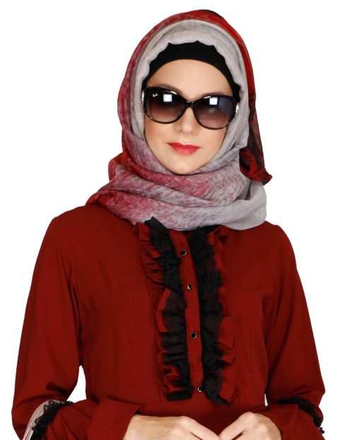 Forget Me Not Maroon Hijab