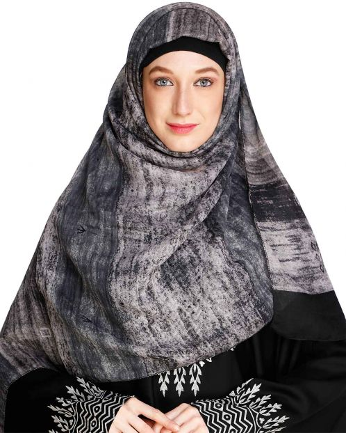 Brushed Stripes Black Hijab