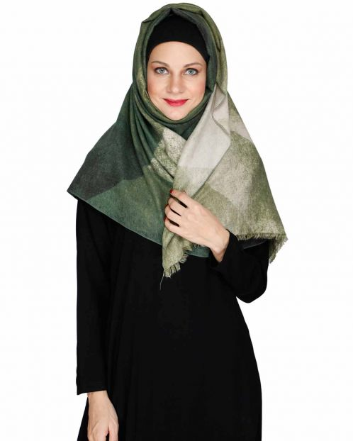 Vintage green winter wear Hijab
