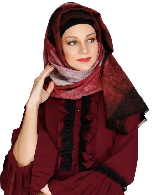 Vintage Maroon winter wear Hijab