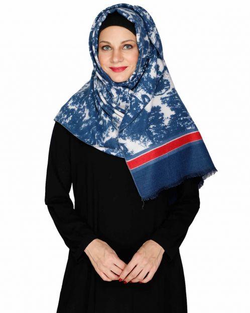 Blue Marble Print Solid Border Hijab