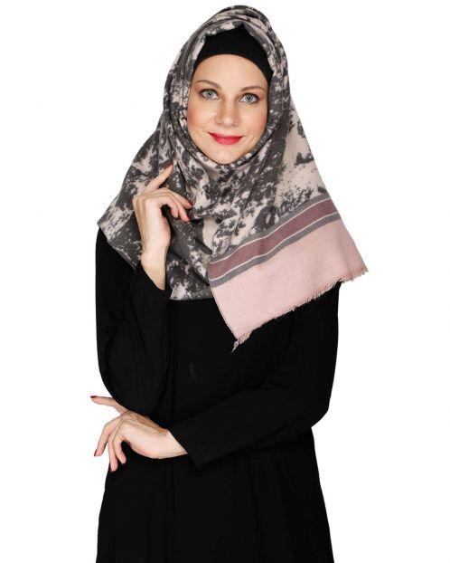 Pink Marble Print Solid Border Hijab
