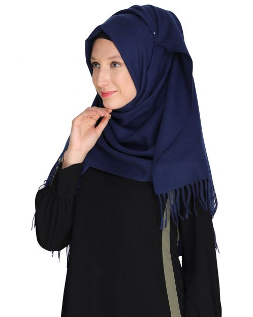Solid Blue Woolen Hijab