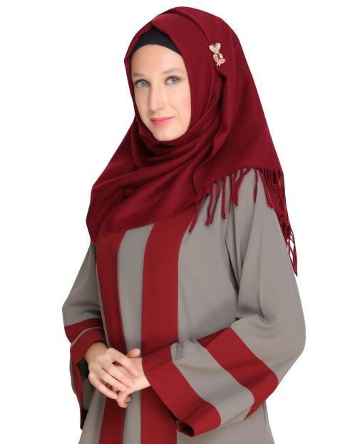 Solid Maroon Woolen Hijab