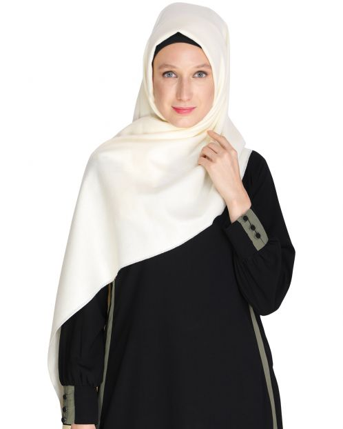 Solid Off White Woolen Hijab