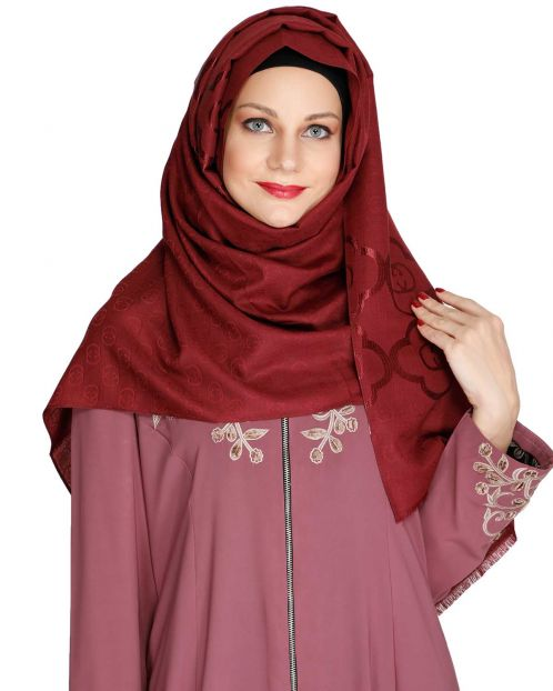 Maroon Modern Art Semi Formal Hijab