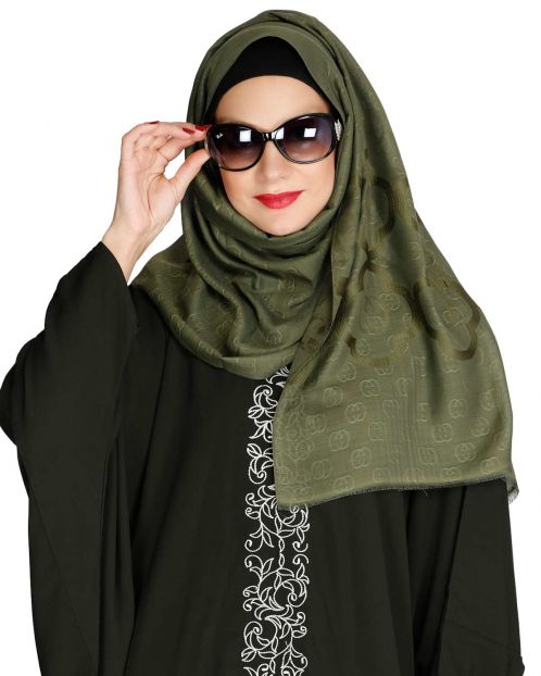 Olive Modern Art Semi Formal Hijab