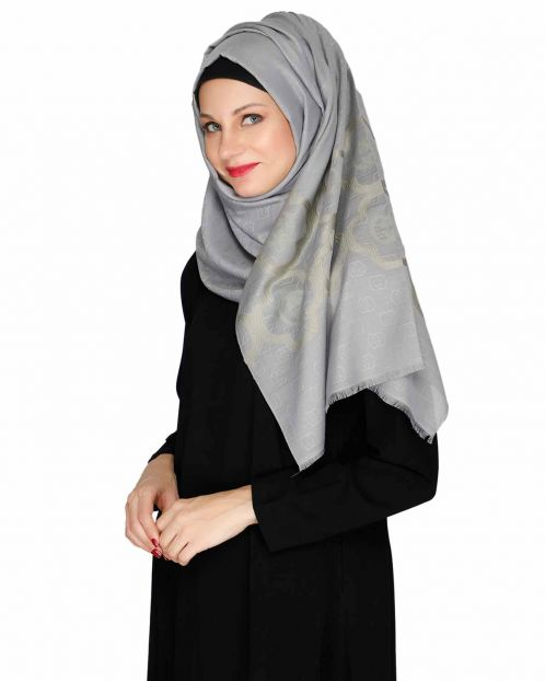 Grey Modern Art Semi Formal Hijab