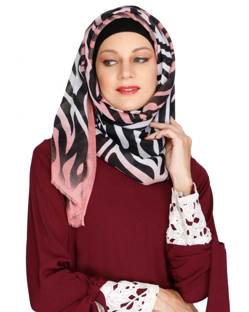 Zebra Print Pink Casual Hijab