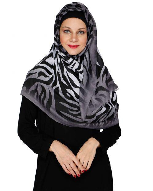 Zebra Print Black Casual Hijab