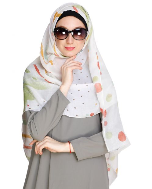 Colour Splash Off white Hijab