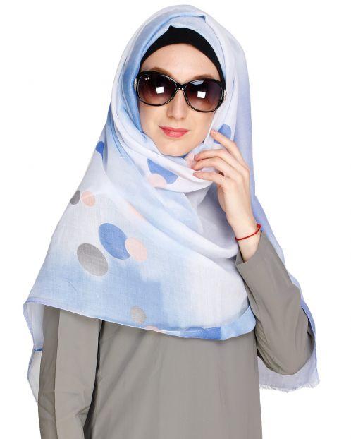 Shaded Polka dots Blue Hijab