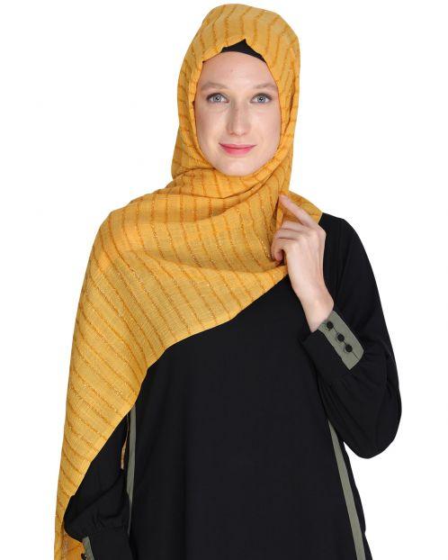 Shimmer stripes Yellow Hijab