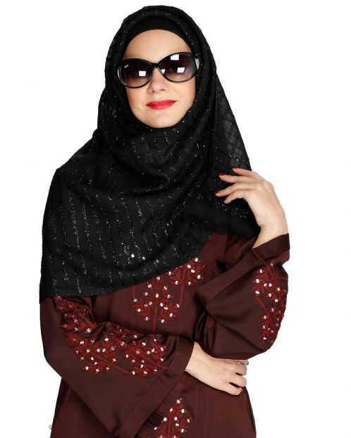 Sparkling Black Party Wear Hijab