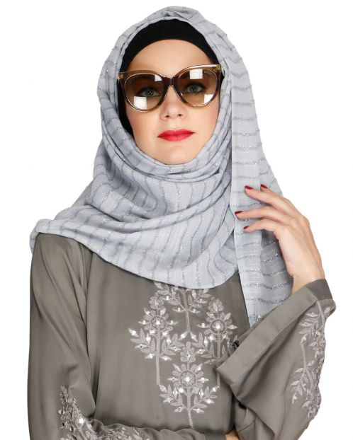 Sparkling Light Grey Party Wear Hijab