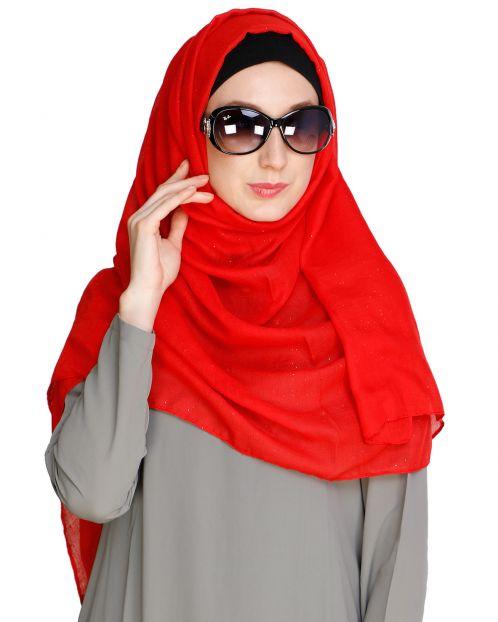 Sprinkled Glitter Red Hijab