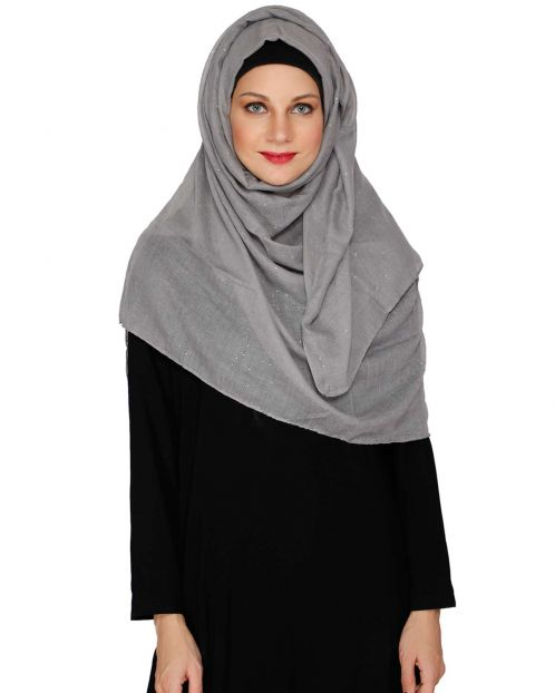 Sprinkled Glitter Grey Hijab