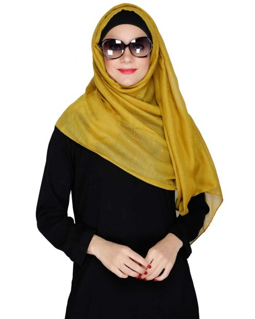 Sprinkled Glitter Mustard Casual Hijab