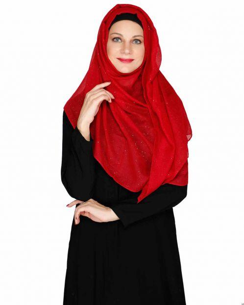 Sprinkled Glitter Maroon Casual Hijab