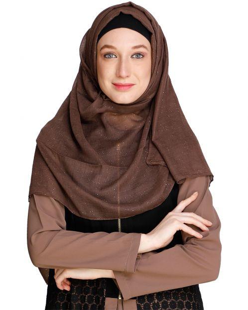 Sprinkled Glitter Brown Hijab