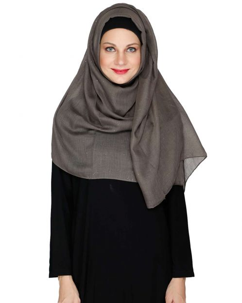 Sprinkled Glitter Grey Casual Hijab