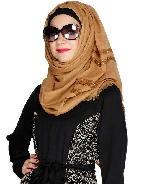 Brown Party Wear HIjab