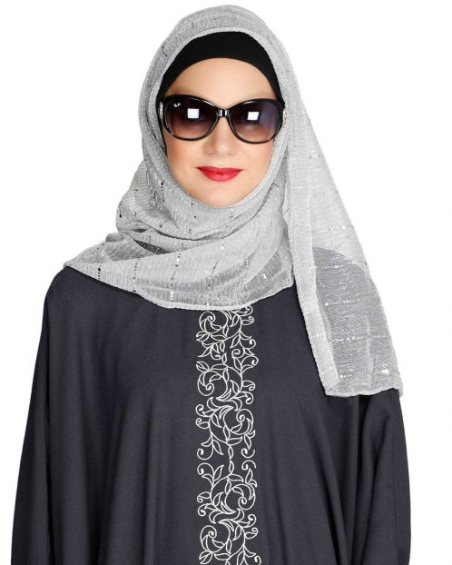 Silver Sequence Lines Crinkled Hijab