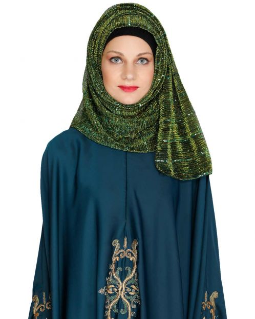 Silver Sequence Green Crinkled Hijab