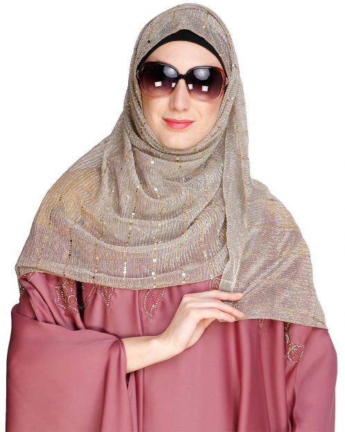 Gold Sequence Dusty Brown Crinkle Hijab