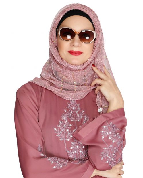 Silver Sequence Pink Crinkled Hijab