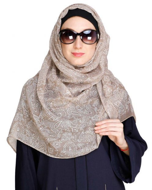 Paisley Printed Beige Hijab