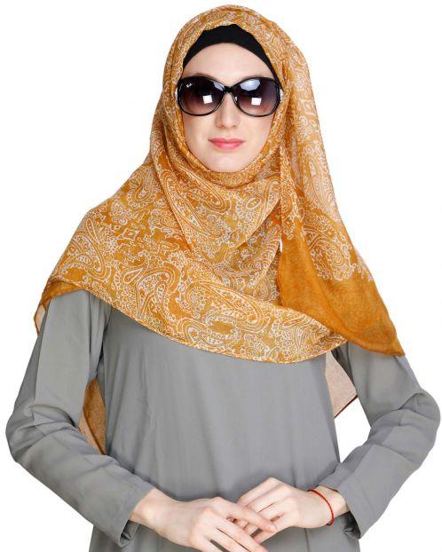 Paisley Printed Mustard Hijab