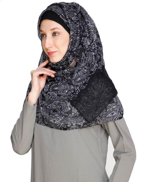 Paisley Printed Black Hijab