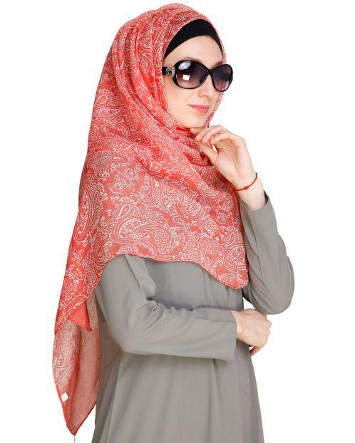 Paisley Printed Peach Hijab