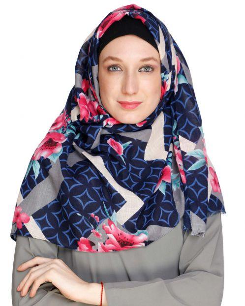 Floral Geogmetric Blue Hijab