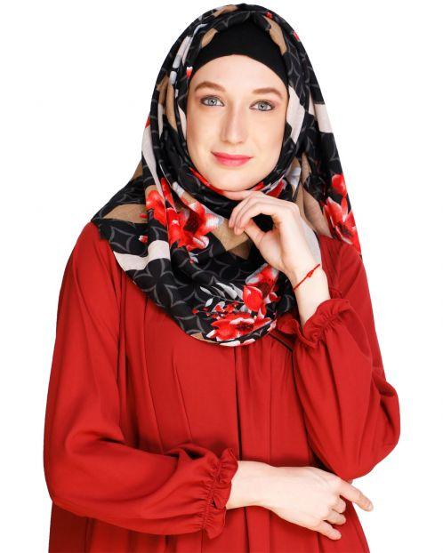 Floral Geogmetric Black Hijab