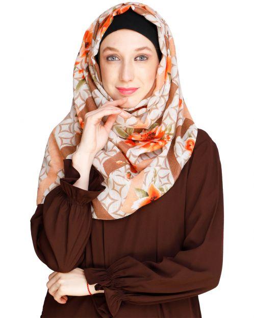 Floral Geogmetric Beige Hijab
